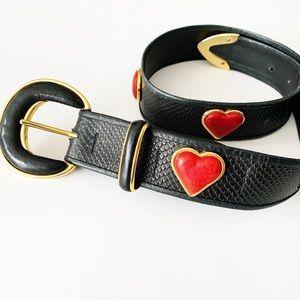 Cache | VTG Heart Leather Black Red Waist Belt